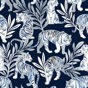 Normal scale // Nouveau white tigers // navy blue background metal silver leaves and lines white animals