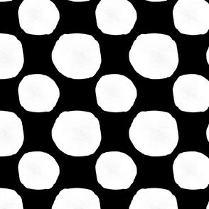 Modern Black Organic Painted Ink Circles White on Black