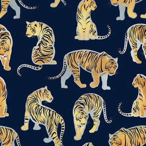 Small scale // Big tiger cats // navy blue background silver lines yellow gold animals