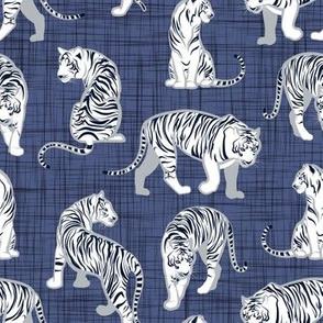 Small scale // Big tiger cats // blue linen texture background grey lines white animals