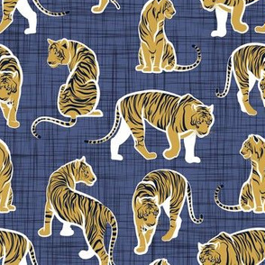 Small scale // Big tiger cats // blue linen texture background white lines yellow mustard animals