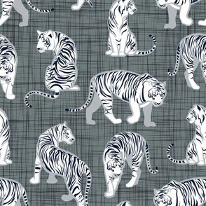 Small scale // Big tiger cats // grey green linen texture background grey lines white animals