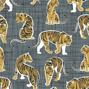 Small scale // Big tiger cats // grey green linen texture background white lines yellow mustard animals