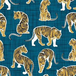 Small scale // Big tiger cats // teal linen texture background white lines yellow mustard animals