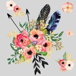 Boho Floral Dreams with Arrows on light grey