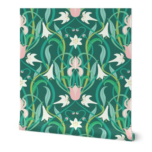"Art Nouveau lilies in arsenic green 24"" by Pippa Shaw"