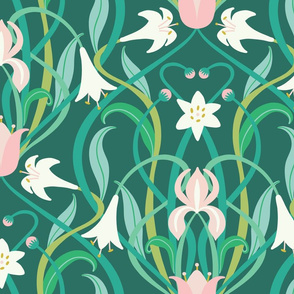 """Art Nouveau lilies in arsenic green 24"""" by Pippa Shaw"""