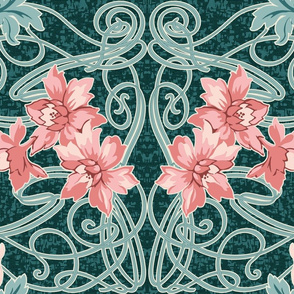 Art Nouveau Pink green