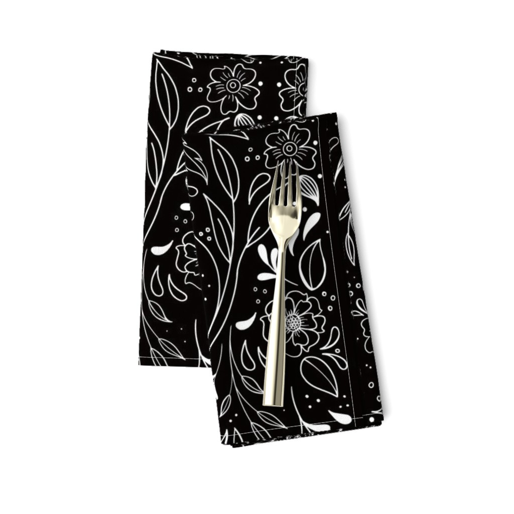 Amarela Dinner Napkins featuring Floral Art Nouveau Mirror  by kathryncole