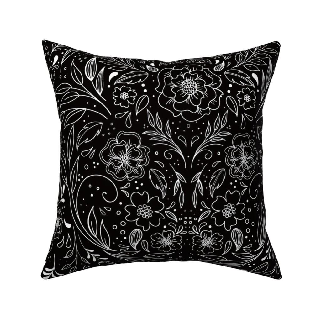 Catalan Throw Pillow featuring Floral Art Nouveau Mirror  by kathryncole