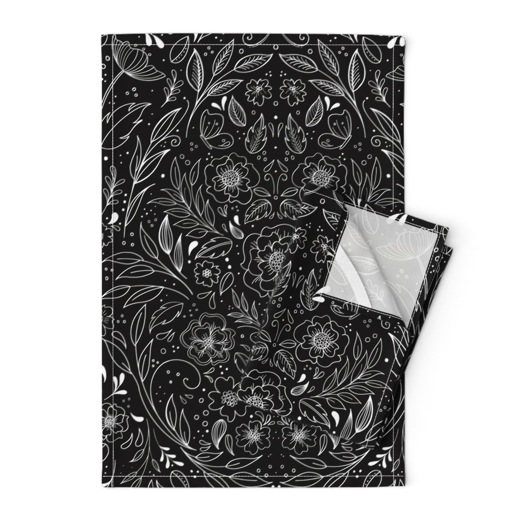 Orpington Tea Towels featuring Floral Art Nouveau Mirror  by kathryncole