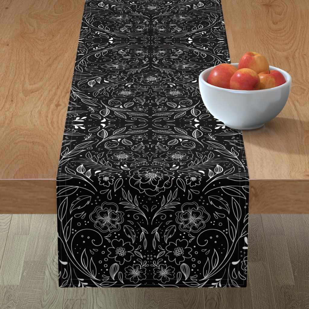 Minorca Table Runner featuring Floral Art Nouveau Mirror  by kathryncole