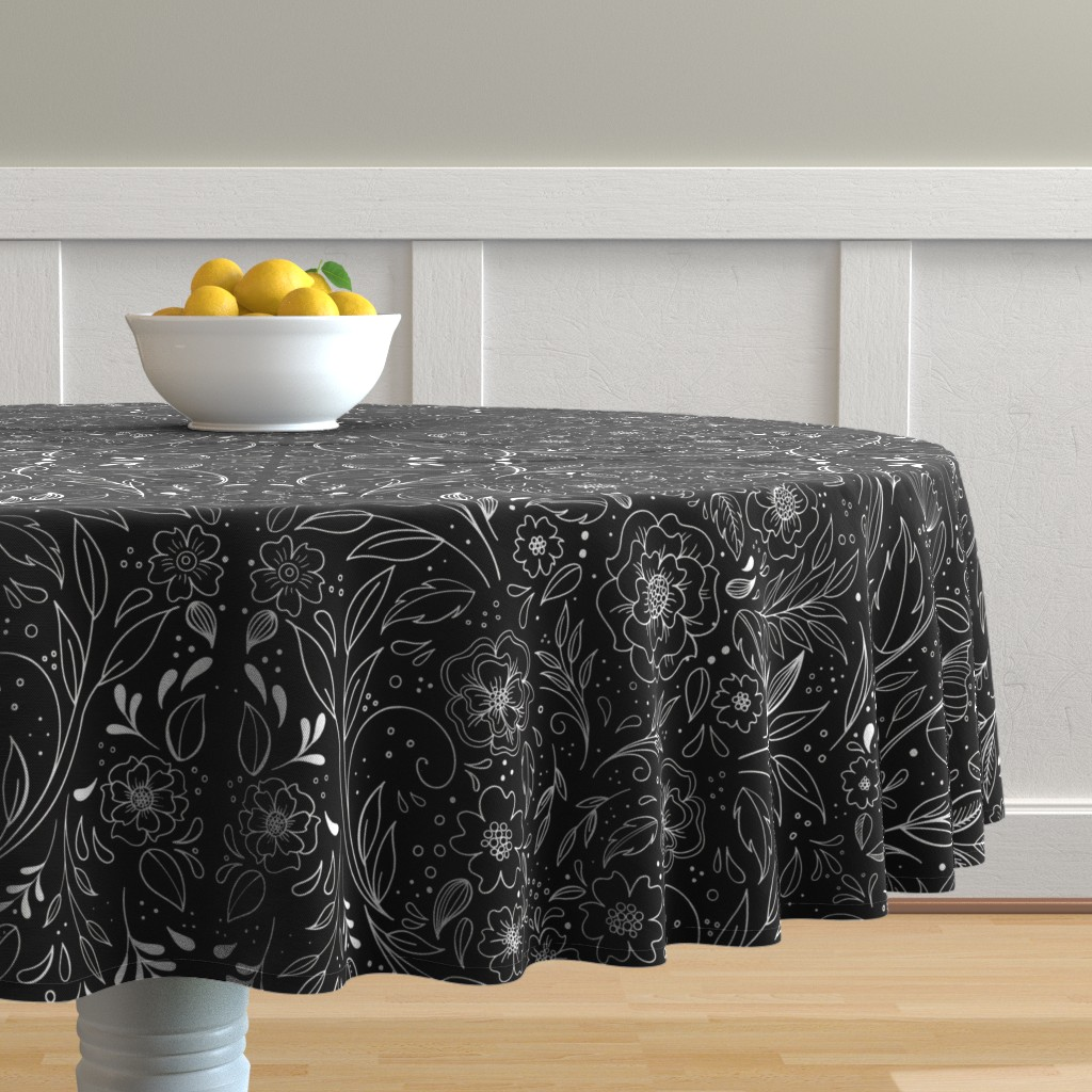 Malay Round Tablecloth featuring Floral Art Nouveau Mirror  by kathryncole