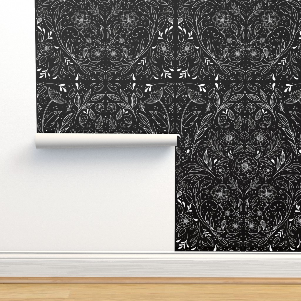 Isobar Durable Wallpaper featuring Floral Art Nouveau Mirror  by kathryncole
