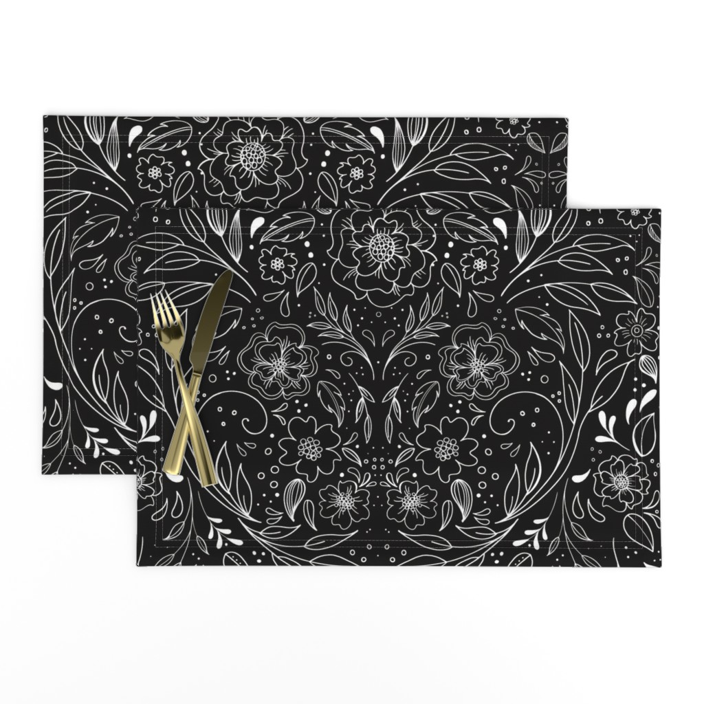 Lamona Cloth Placemats featuring Floral Art Nouveau Mirror  by kathryncole