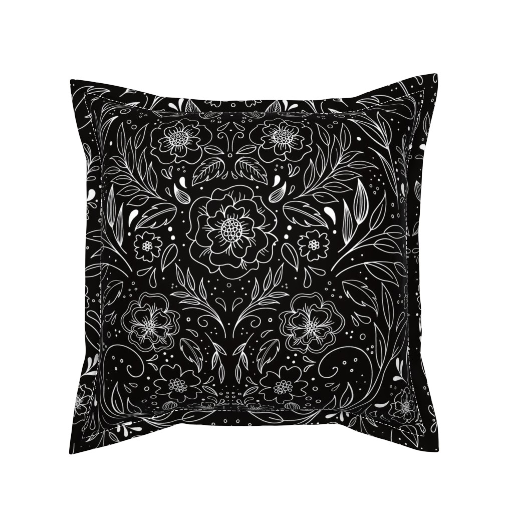 Serama Throw Pillow featuring Floral Art Nouveau Mirror  by kathryncole