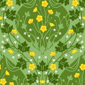 Nouveau Buttercup large green