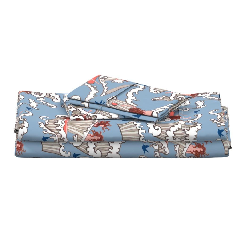 "Langshan Full Bed Set featuring Bird Bath -ocean  bathing beauties Art nouveau ""sea birds"",  inspired by Alphonse Mucha by magentarosedesigns"