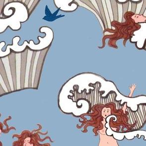 "Bird Bath -ocean  bathing beauties Art nouveau ""sea birds"",  inspired by Alphonse Mucha"