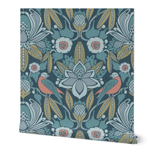 Tanager,  Blue with Coral and Olive, Jumbo