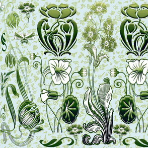 art nouveau Morning Glory w bkgrd flowers