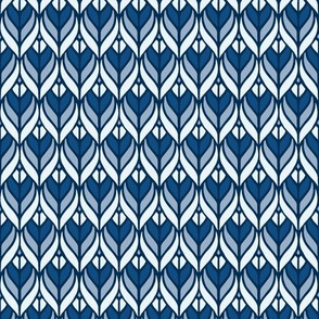 Blue Art Deco Leaves