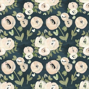 Modern Navy Blush Pink Moody Floral Nude - small