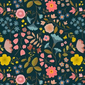 "WOODLAND FLOWERS 15""  black"