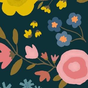 WOODLAND FLOWERS black jumbo
