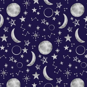 Moon Stars Constellations Navy