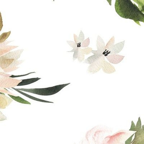 Floral pattern pink delicate watercolor peonies, blue berries