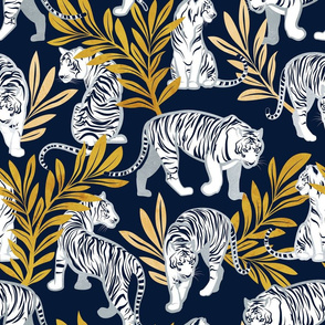 Normal scale // Nouveau white tigers // navy blue background yellow leaves silver lines white animals