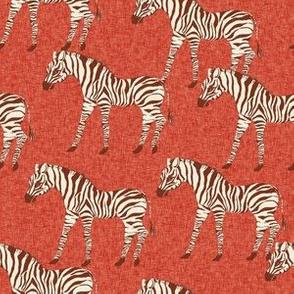 zebra fabric - zebra wallpaper, zebra print, animal print, african fabric, african print, home dec fabric - brick red