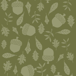 leaves and acorns in light green on dark green