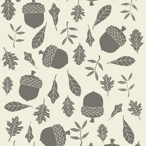 leaves and acorns in graphite on natural