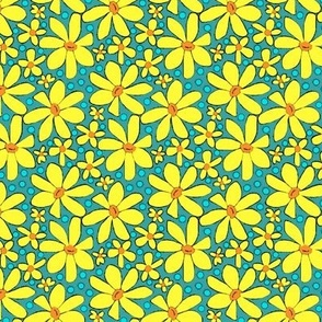 Hippie Daisies Yellow on Turquoise