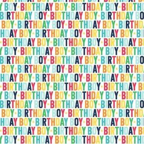 birthday boy XSM rainbow with navy UPPERcase