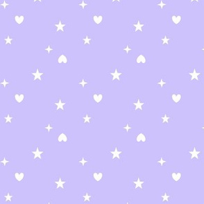 Heart and stars light purple - Etoiles coeurs clair violet