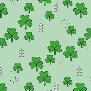 St Patrick's day little green shamrock lucky charm clover leaves mint