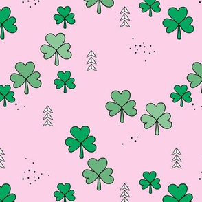 St Patrick's day little green shamrock lucky charm clover leaves green pink SMALL