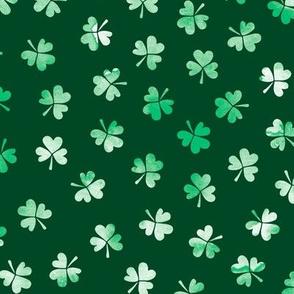 Watercolor clover garden St Patrick's Day shamrock lucky charm emerald green