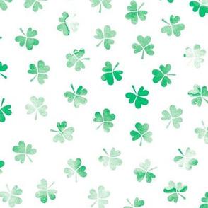 Watercolor clover garden St Patrick's Day shamrock lucky charm soft green