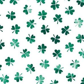 Watercolor clover garden St Patrick's Day shamrock lucky charm dark green emerald