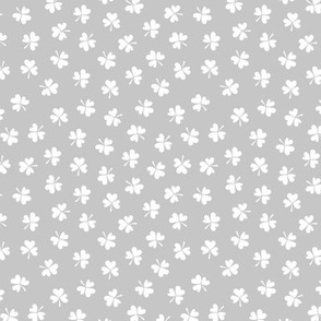 Romantic clovers soft grey St Patrick's Day shamrock lucky charm