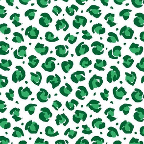 Boho leopard animal print spotted cheetah fur modern style raw brush st patrick's day green on white