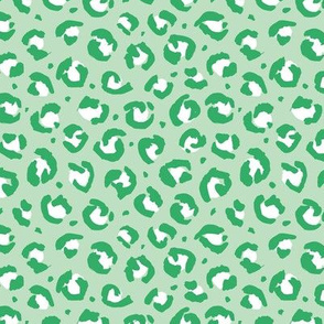 Boho leopard animal print spotted cheetah fur modern style raw brush st patrick's day mint green