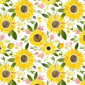 Sweet Sunflowers Field Watercolor Floral - Soft Blush Dots - Medium