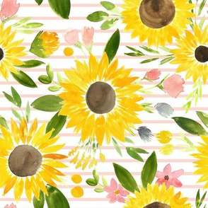 Sweet Sunflowers Field Watercolor Floral - Bold Blush Stripes - SMALL