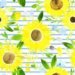 Sweet Sunflowers Field Spring Floral on Blue Stripes