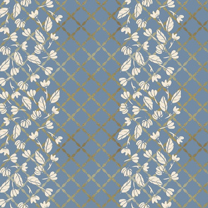 Peony Garden -Cream Petals Lattice Border